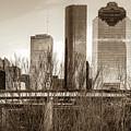 Sepia Houston Texas City Skyline Through Barren Trees by Gregory Ballos