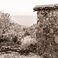 Sepia-toned Fikardou Village Scene 1 by Iordanis Pallikaras