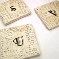 Set Of 2 Monogram Tile Coasters With Script by Angela Rath
