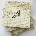Set Of 4 Monogram Tile Coasters With Script by Angela Rath