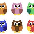 Set Of Six Little Owlets by Miroslav Nemecek