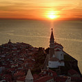 Setting Sun On The Adriatic Sea Behind Archangel Michael On Top  by Reimar Gaertner