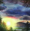Setting Sun Watercolor Painting  by Irina Sztukowski