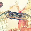 Shabby Chic Moulin Rouge Metro Sign Paris by Sandra Rugina