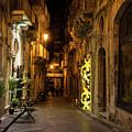 Shabby Chic - Small Street Night Walk In Syracuse Sicily by Georgia Mizuleva