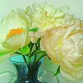 Beautiful Peony Flowers  In Blue Vase. by Alexander Vinogradov