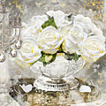 Shabby White Roses With Gold Glitter by Mindy Sommers