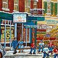 Shapiro Bros Vintage Grocery Store Rue St Viateur Montreal Memories Painting Carole Spandau          by Carole Spandau