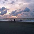 Sharing The Beach At Sunrise by Doris Blessington