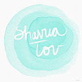 Shavua Tov Blue And White- Art By Linda Woods by Linda Woods