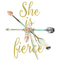 She Is Fierce Boho Tribal Gold Blush Arrow Print by Pink Forest Cafe