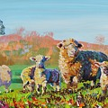 Sheep And Lambs In Devon Landscape Bright Colors by Mike Jory