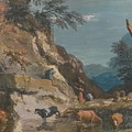 Sheep And Three Peasants Below A Cliff by Marco Ricci