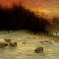 Sheep In A Winter Landscape Evening by Joseph Farquharson