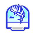Sheepshead Fish Jumping Fishing Boat Crest Retro by Aloysius Patrimonio