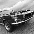 Shelby Gt500kr 1968 In Black And White by Gill Billington