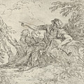 Shepherd Holding A Flute And Two Other Figures In A Landscape by Salvator Rosa