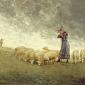Shepherdess Tending Sheep Winslow Homer 1878 by Movie Poster Prints