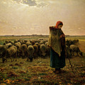 Shepherdess With Her Flock by Jean Francois Millet