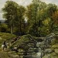 Shepherds Next To A Brook By Thomas Creswick by Thomas Creswick