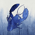 Shibori Blue 3 - Lobster Over Indigo Ombre Wash by Audrey Jeanne Roberts