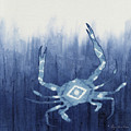 Shibori Blue 4 - Patterned Blue Crab Over Indigo Ombre Wash by Audrey Jeanne Roberts