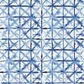 Shibori Kubo Watecolor X Pattern Line Work Indigo Blue by Audrey Jeanne Roberts