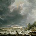 Ship In Distress Off A Rocky Coast by Simon de Vlieger