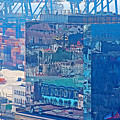 Shipping Containers And Building Windows Reflecting Graffiti  Art Of Valparaiso-chile by Ruth Hager