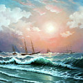 Ships In A Storm At Sunset by Zohrab Kemkemian