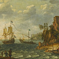 Ships Moored Off A Rocky Coastline With Fishermen Unloading Their Catch by Abraham Willaerts