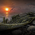 Shipwreck At Sunset by Randall Nyhof