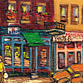 St Viateur Bagel Shop And Mehadrins Kosher Deli Best Original Montreal Jewish Landmark Painting  by Carole Spandau