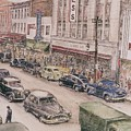 Shopping On Elm St. 1949 by Maggie Clark