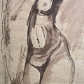 Showing Figure - Sketch Of A Female Nude by Carmen Tyrrell