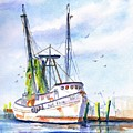 Shrimp Boat Gulf Fishing by Carlin Blahnik CarlinArtWatercolor