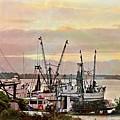 Shrimp Boats Watercolor by Katheryn Batts