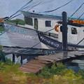 Shrimpboat Docks At St. Augustine Port by Pamela Geiger