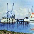 Shrimpboats At Dock by Carol Sprovtsoff