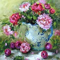 Shy Plums And Pink Peonies by Nancy Medina