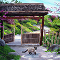 Siamese Cat At Hakone Side Gate by Laura Iverson