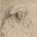 Sick Woman With A Large White Headdress (saskia) by Rembrandt Van Rijn