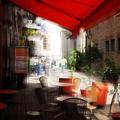 Sidewalk Cafe In Red by Wayne Archer