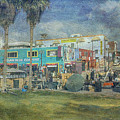 Sidewalk Cafe Venice Ca Panorama  by David Zanzinger