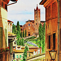 Siena Italy Church Of Santa Maria Dei Servi Watercolor by Irina Sztukowski