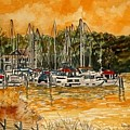 Sienna Sky Boat Marina Nautical Art by Derek Mccrea