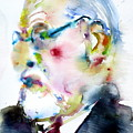Sigmund Freud - Watercolor Portrait.3 by Fabrizio Cassetta