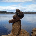 Silent Watch - Inukshuk On Boulder At Long Lake Hiking Trail by Sylvie Marie