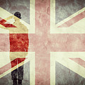 Silhouette Of A Soldier And The United Kingdom Grunge Flag. by Michal Bednarek