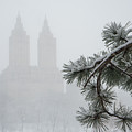 Silhouette Of The Eldorado Building Through Snow With Central Pa by Diane M Evans